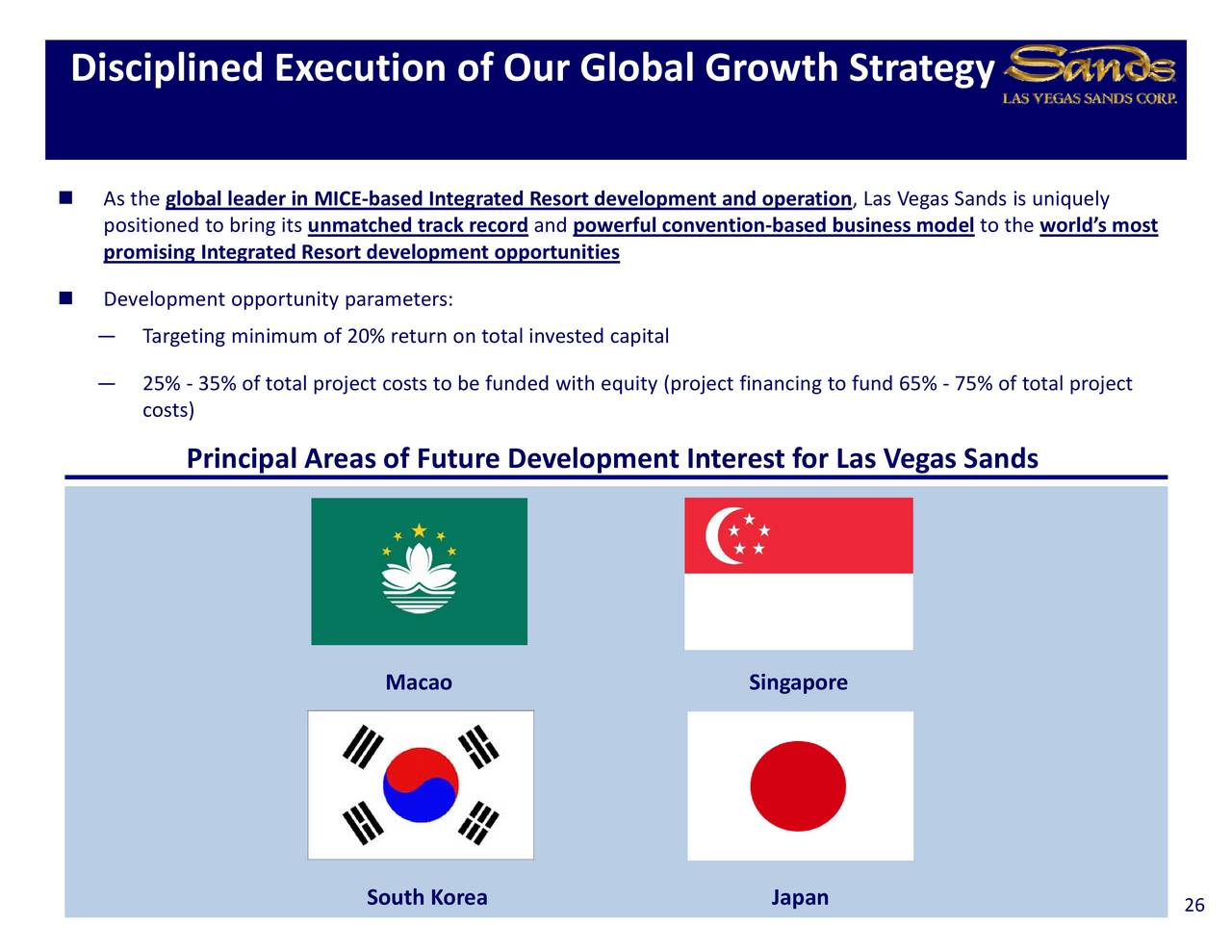 strategy las vegas sands singapore Although the las vegas strip is the third-largest casino market globally, las vegas sands (nyse: lvs) derives just around 13% of its revenues from the region.