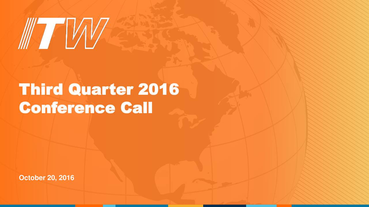 Conference Call October 20, 2016
